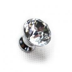 Uchwyt gałka meblowa kryształowa płaska CHROM fi25-2528