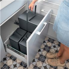 Pojemniki na odpady UNICO szuflada 450mm 3 wiadra-6894